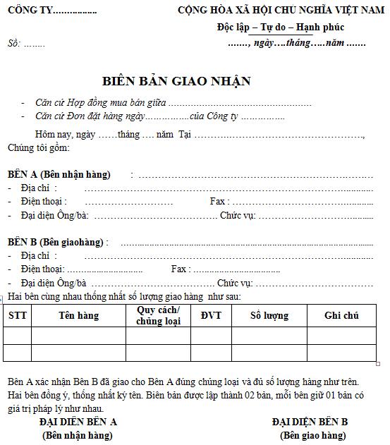 Biên Bản Bàn Giao Hàng Hóa