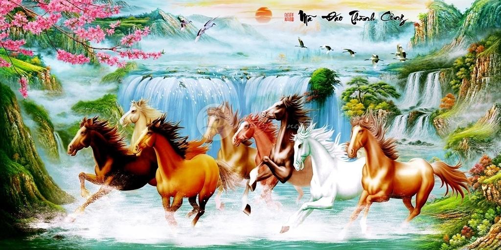 Tranh 8 chú Ngựa Mã Đáo Thành Công