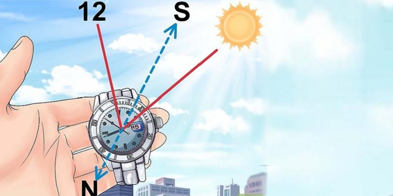 Tính toán phương hướng bằng đồng hồ có kim chỉ giờ và mặt trời.